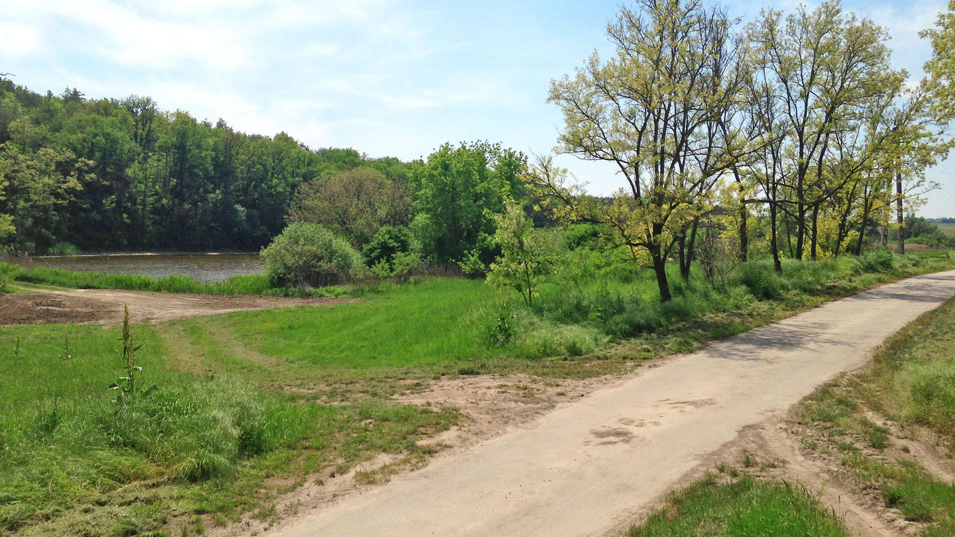 aszfaltozott út kb 15 m-re a tótól